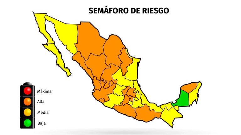 Mapa del coronavirus en México 12 de octubre: siete estados regresaron a naranja y 14 permanecen en amarillo